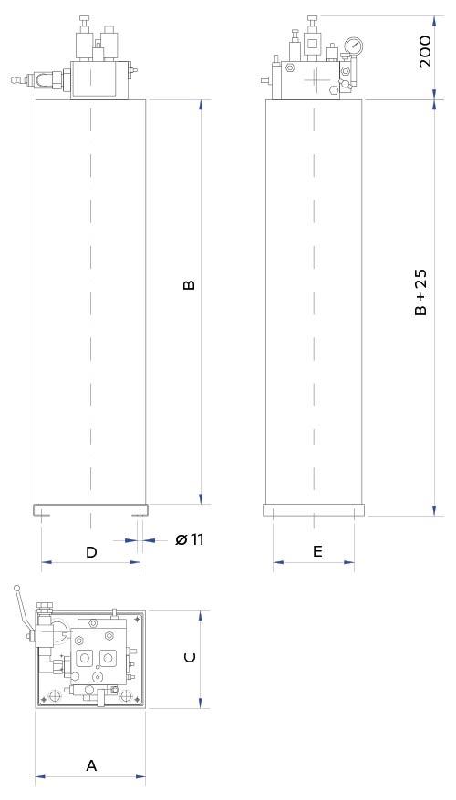 disegno tecnico centralina verticale